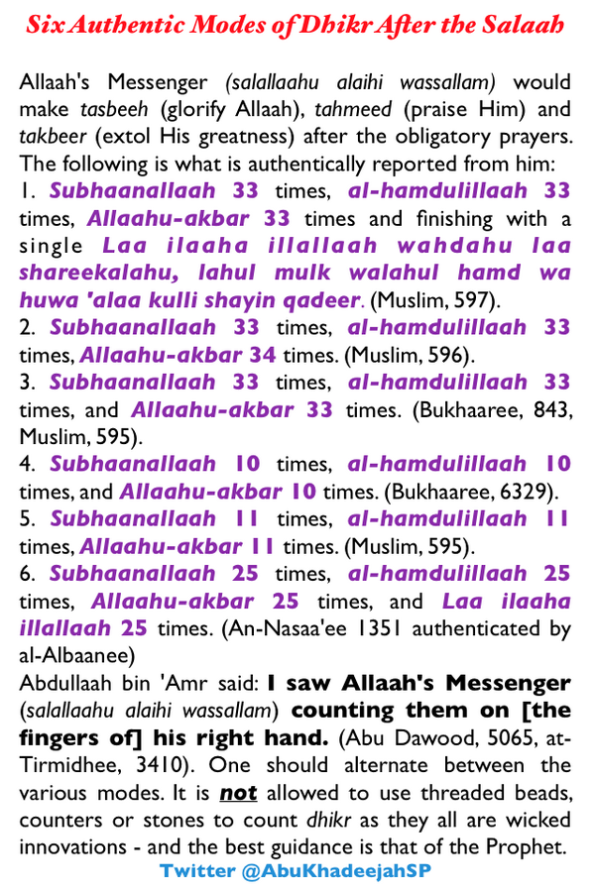 Six Authentic Modes of Dhikr After the Salaah